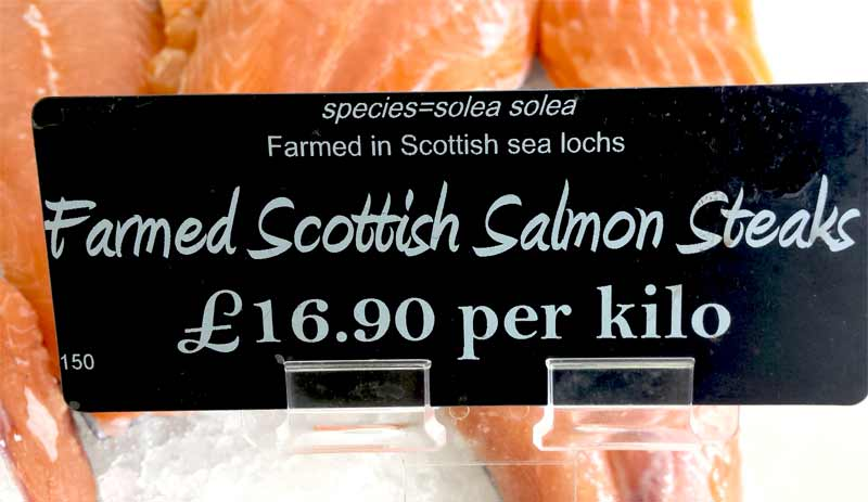Farmed salmon label