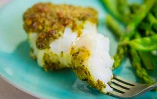 Cod with pesto crust