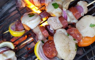 tasty fish kebabs on the grill
