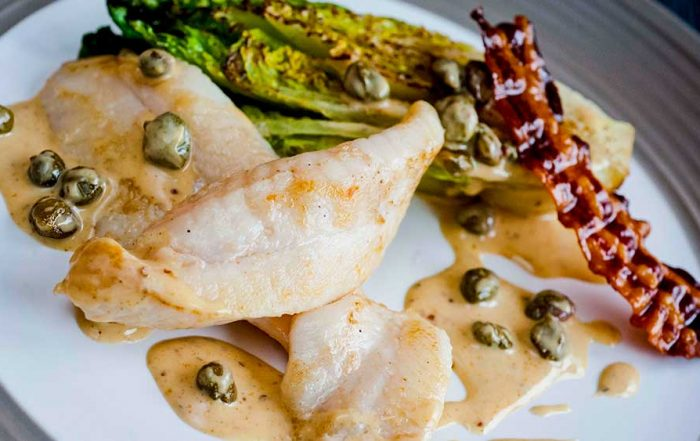 john dory fillet recipe with smoked garlic and little gem